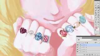 Photoshopで宝石と女の子を描いてみた