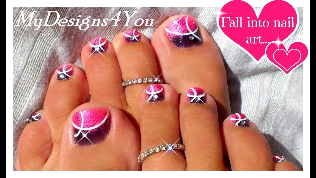 pink toenail art design