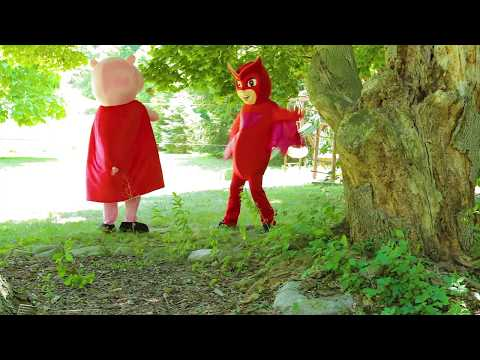 PJ Masks Owlette Saves Peppa Pig and Paw Patrol Chase from Villain Romeo In Real Life IRL