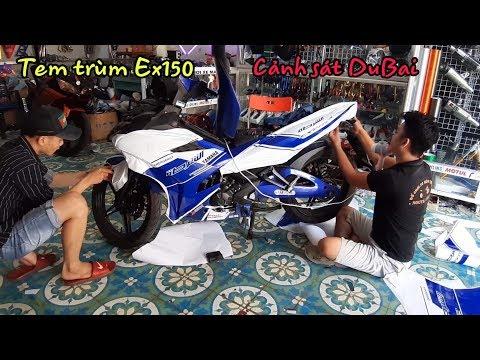 Exciter150 Lột Xác Cực Chất Với Bản Tem Trùm DuBai Xanh GP (Exciter150 stamped dubai police)