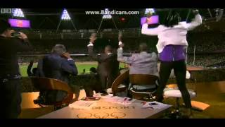 Denise Lewis dancing in the studio after Mo Farah won the 10,000m BBC commentators