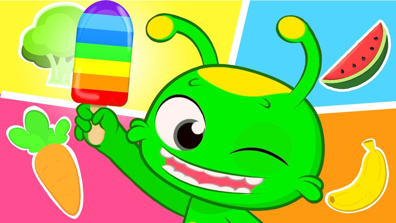 New episode! Groovy The Martian | Colors song | Rainbow popsicles made out fruits and veggies!