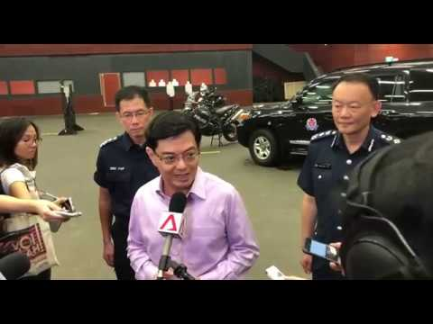 Finance Minister Heng Swee Keat at a visit to the Home Team Tactical Centre at Mandai on Feb 2, 2018