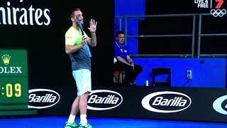 Australian Open 2018 - KYRGIOS VS TROICKI ( TENNIS BALL HITS UMPIRE )
