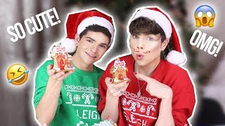 BOYFRIENDS BUILD GINGERBREAD HOUSES!? & Holiday Q&A! Xmas Week Day 3 | Thomas Halbert