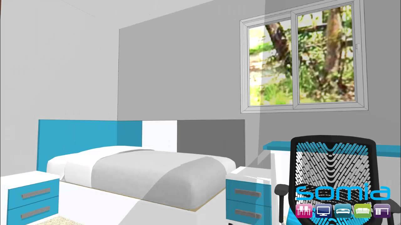 Dise o 3d habitacion juvenil valencia turquesa blanco y pizarra youtube - Habitacion juvenil diseno ...