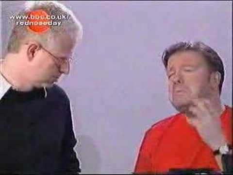 Ricky Gervais with Richard Curtis & Blue- Comic relief 2003
