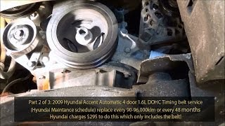2009 Hyundai Accent 1.6L GLS DOHC Timing belt service Part 2 of 3  720pHD