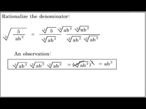 Rationalize The Denominator Containing A Cube Root Youtube