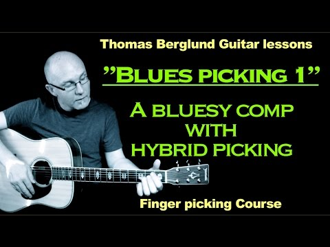 "Blues picking Guitar lesson ""part 1"" with hybrid picking - Hybrid picking lesson"