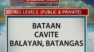 NTG: Klase sa Bataan, Cavite at Balayan, Batangas, suspendido ngayong araw