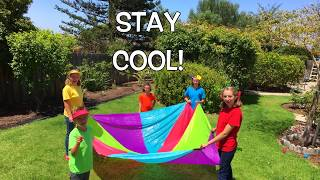 Learn English Colors! Parachute Umbrella Play with Sign Post Kids!