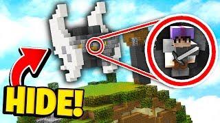 HIDING INSIDE IRON HELMET TOPPER! *SECRET SPOT* (Minecraft Bedwars Trolling)