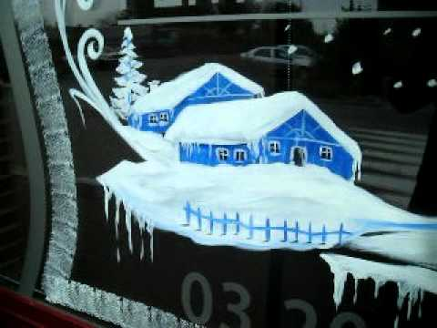 D co vitrines de noel en peinture youtube for Decoration fenetre noel peinture