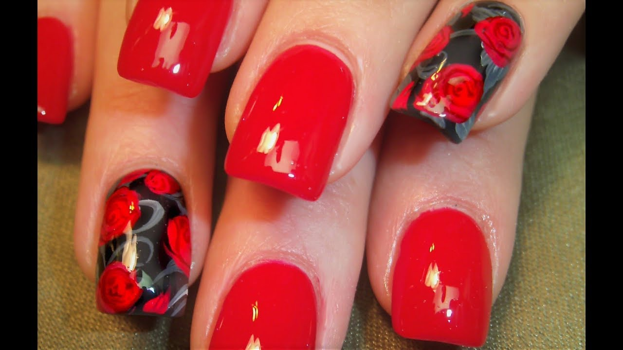 Red Rose Nails for Beginners | Easy Roses Nail Art Design