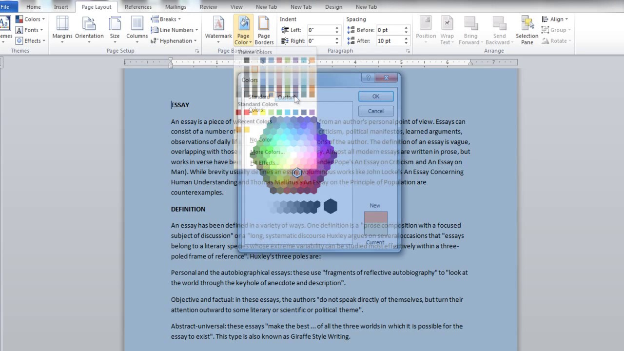 How To Change Page Background Color In Word