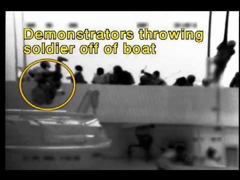 Gaza flotilla gevechten. activisten vallen Israelische marine-strijders aan - Een Closeup.flv