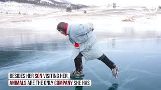 Single old woman grandmother skating siberia baikal...