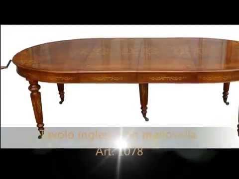 Tavolo tavoli ovali intarsiati in stile inglese con meccanismo a ...