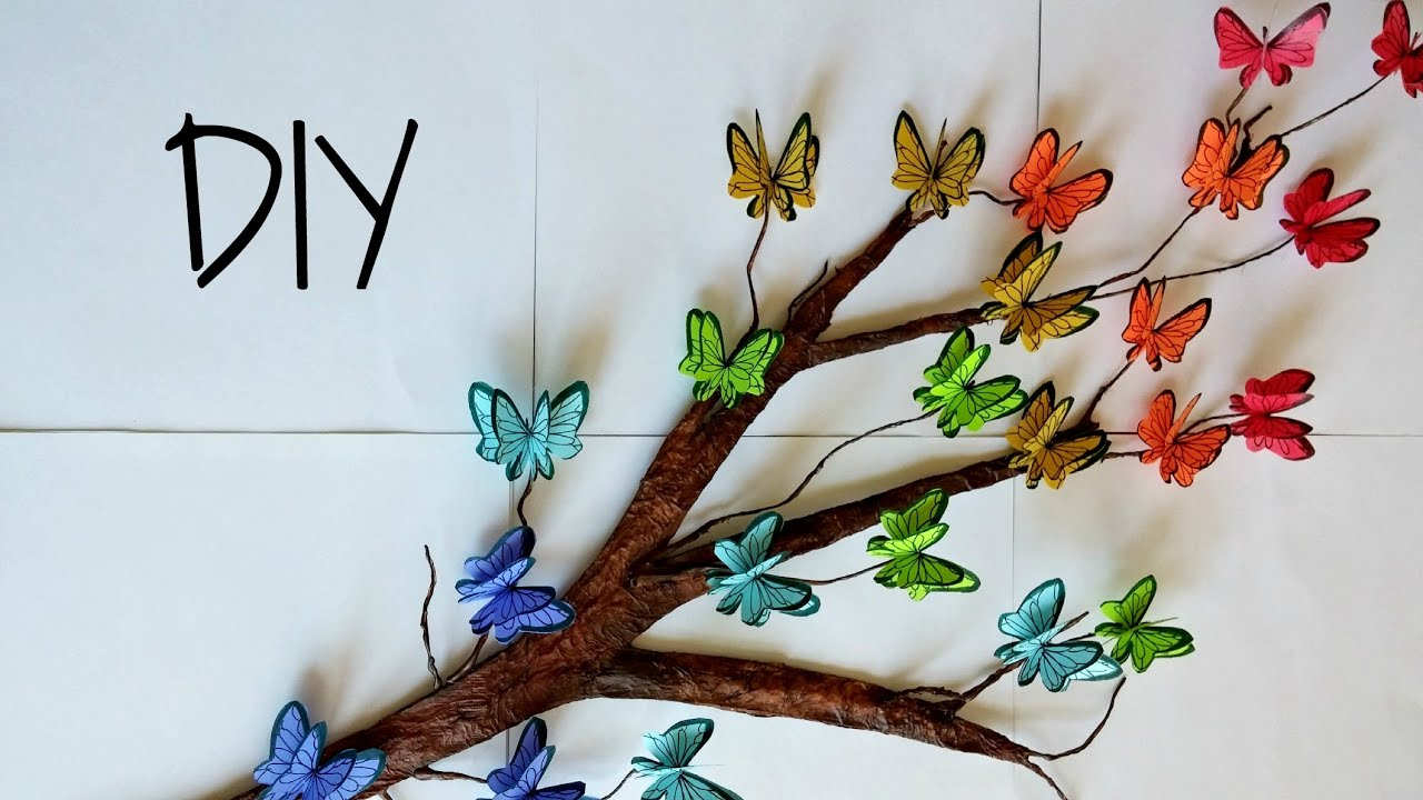 Room Decorating With Paper Diy Tree Branch 3d Butterflies Room Decor Youtube