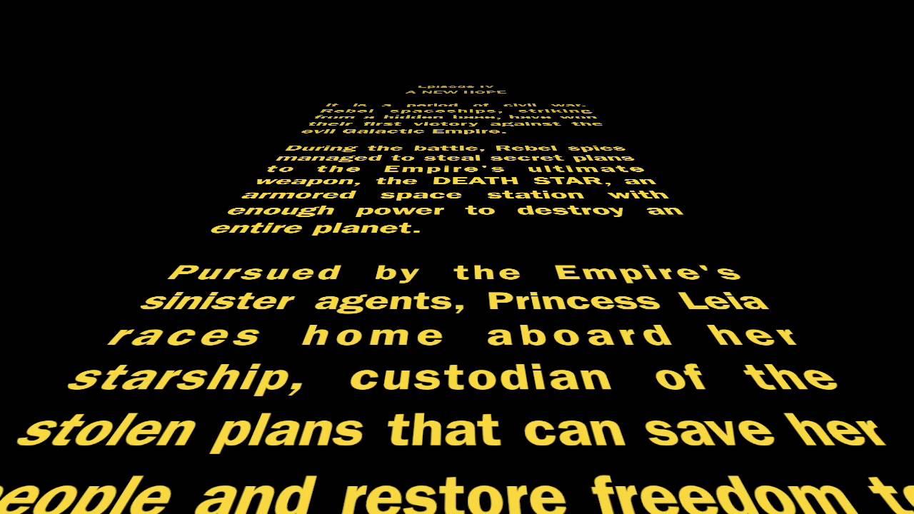 Star Wars Episode Iv Opening Crawl Imovie Youtube