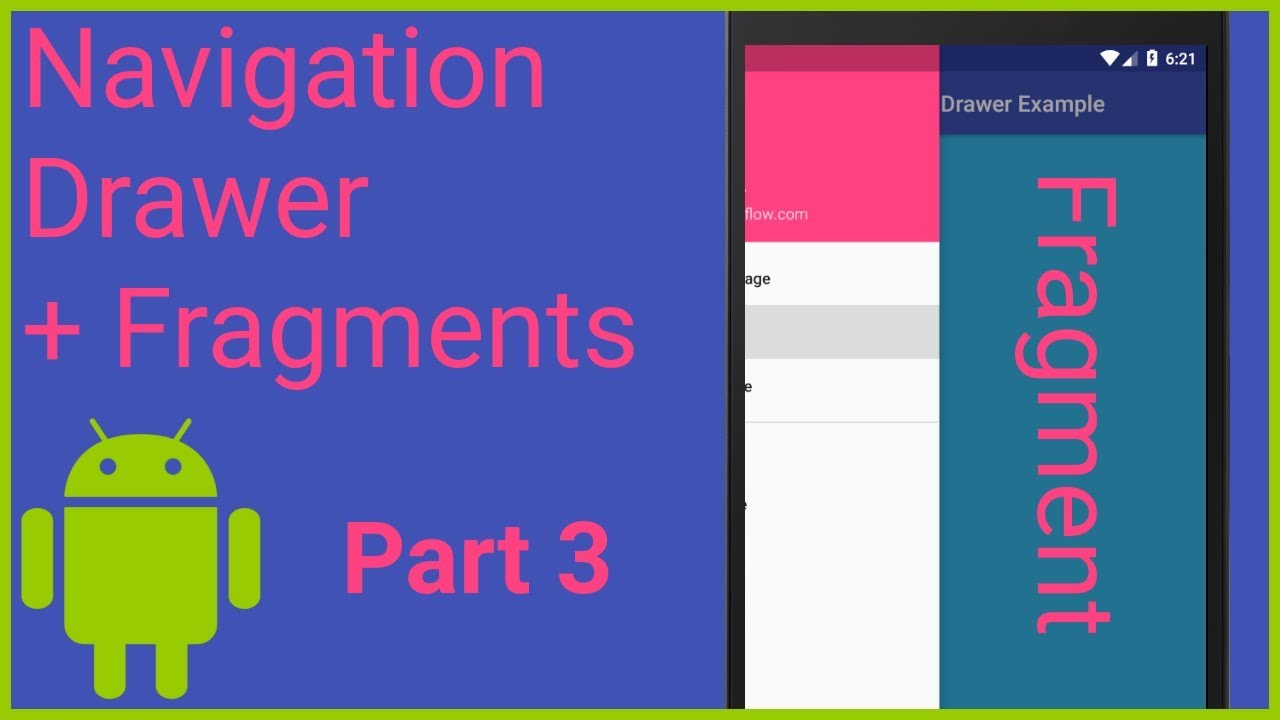 Navigation Drawer with Fragments Part 3 - HANDLING MENU ITEM CLICKS -  Android Studio Tutorial