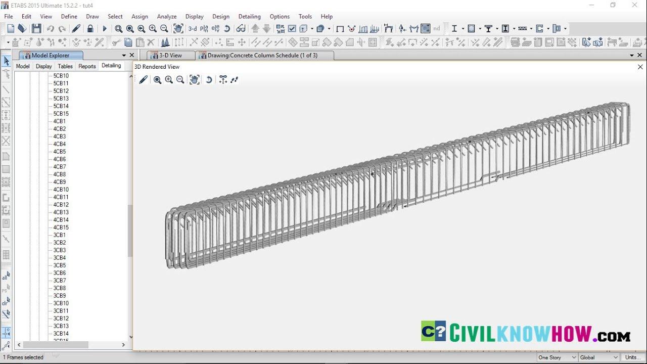 Etabs 2015 Tutorial 5 - Reinforcement Detailing of Beams and Columns