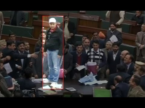 PDP members climb on table in Jammu and Kashmir Assembly