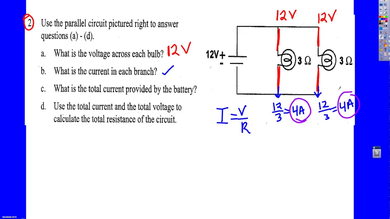 Parallel Circuit Worksheet Example
