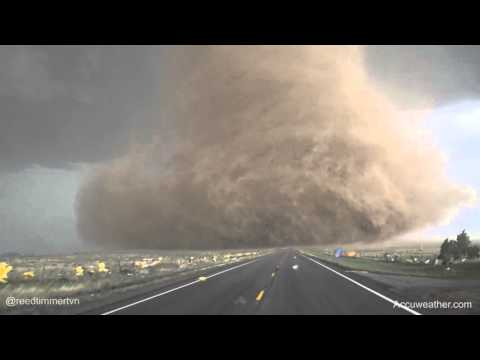 Extreme up-close video of tornado near...