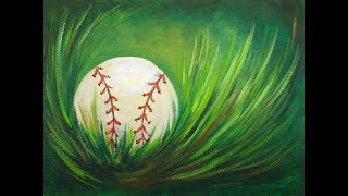 Acrylic Step by Step Painting Baseball in Grass Easy beginner Tutorial 🎨⚾