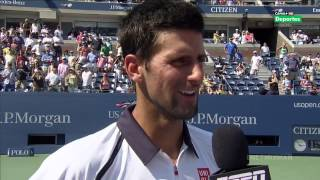 2012 USO Djokovic Mistakes a Grunt for an Out-call