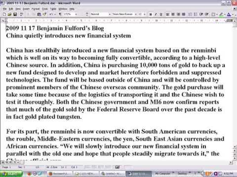 2009-11-17 Ben Fulford China introduces new financial system & 10,000 tons Gold for Suppressed Tech