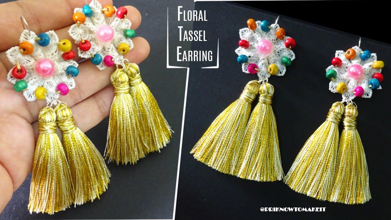 d8b1fd00c Tassel earrings | How to make silk thread Tassel earrings at home | Floral  diy earrings for navratry