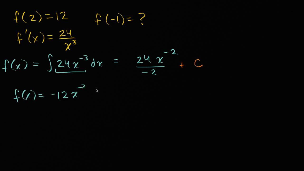 Finding specific antiderivatives: rational function | AP Calculus AB | Khan  Academy