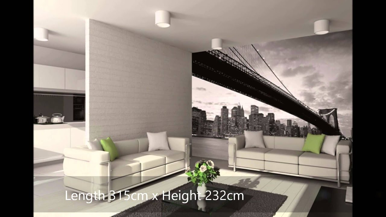 New york brooklyn bridge wall mural video for Brooklyn bridge black and white wall mural