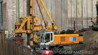 BIG MACHINES FOUNDATION WORKS ++ DRILL RIG BAUER KOMATSU WHEELLOADER