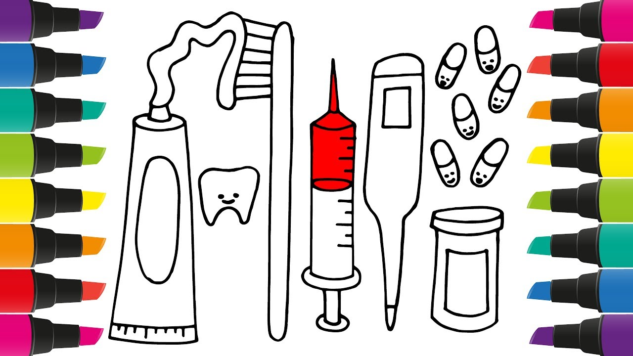 how to draw set for dentist coloring pages syringe thermometer