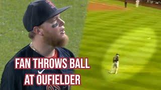 Fan hits outfielder with a ball, a breakdown