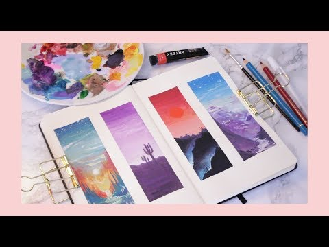 what to draw when you have no ideas // Gouache Sunset Studies