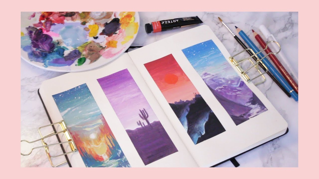 What To Draw When You Have No Ideas Gouache Sunset Studies Youtube