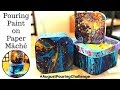 Paper Mâché Boxes Finished with the Fluid Acrylic Pouring Technique