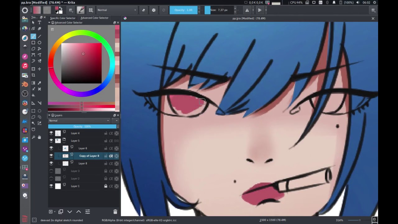 Simple anime drawing with KRITA - YouTube