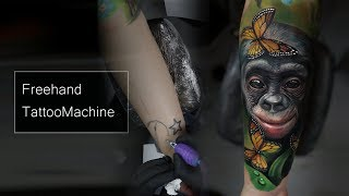 Gambar cover Free hand tattoo machine, Realistic tattoo timelapse, tattoo macaco, monkey tattoo, colorido