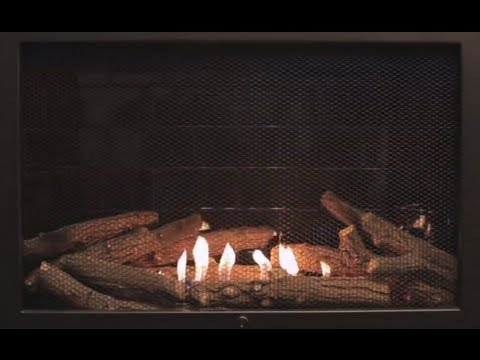 Traditional Black Ventless Fireplace - Yule Log Video