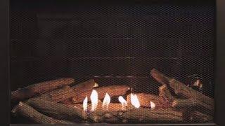 Traditional Black Ventless Fireplace - Yule Log Video