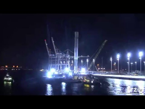 SpaceX Falcon 9 arriving into Port Canaveral on Drone Barge