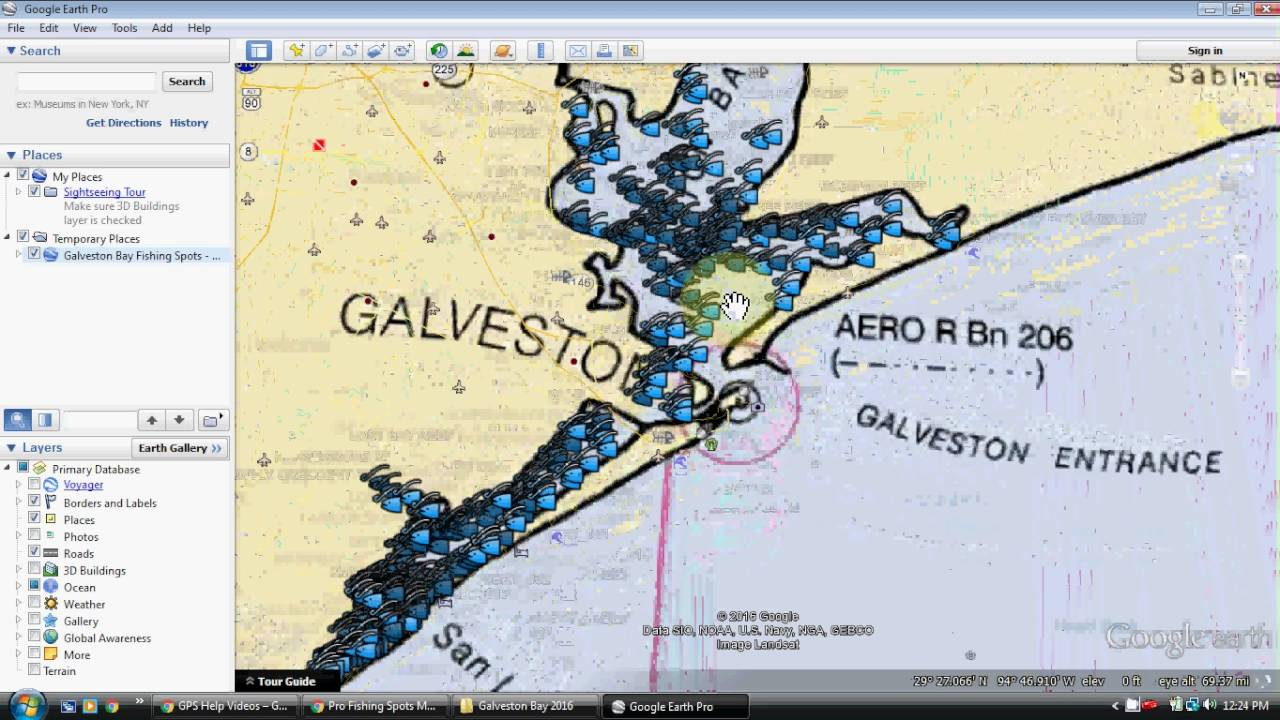 Galveston bay fishing map youtube for Good fishing spots in galveston