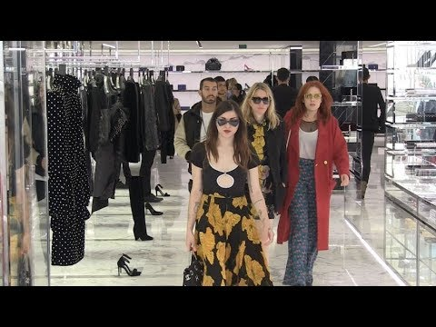 EXCLUSIVE :  Courtney Love and daughter Frances Bean Cobain go to Saint Laurent store in Paris