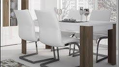 Toronto Large Contemporary 160 cm Dining Table in White & San Remo Oak